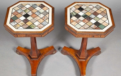 Pair of George IV Style Rosewood and Specimen Marble Occasional Tables