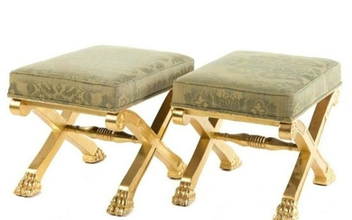 Pair of Late 19th C. Regency Style Giltwood Stools