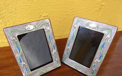 Pair of Solid Silver Enamel Decorated Rectangular Form Photo...