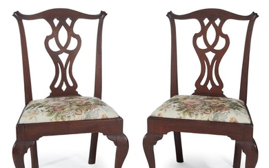 Pair of carved Chippendale walnut side chairs Mid-Atlantic States,...