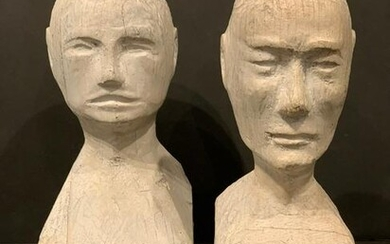 Pair of carved Portrait Fence-Post Finials, c. 1880