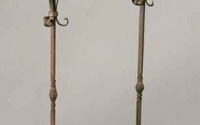 Pair of large iron floor candle prickets, crown form