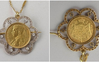 """Pendant - 18 karat yellow gold and silver brooch set with antique cut diamonds for a total of +/-0.30 carat and rose cut and a 20 Francs yellow gold 900/1000th coin bearing the effigy of Albert 1st """"King of the Belgians"""" dated 1914. One joins to it his..."""