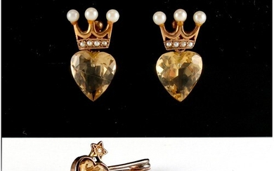 Property of a lady - a pair of 9ct yellow gold heart shaped ...