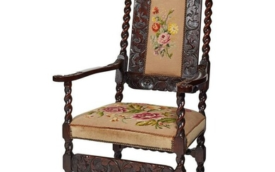 QUEEN ANNE STYLE CARVED AND STAINED OAK NEEDLEWORK