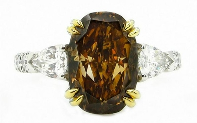 Rare GIA 4.85ctw Natural Fancy Deep Brown ORANGE OVAL
