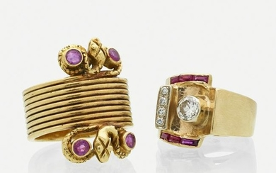 Retro ruby, diamond, and yellow gold rings