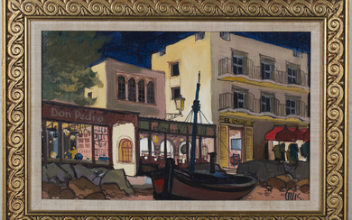 Robert Guis - View of a Street in Torremolinos, 20th century oil on canvas, signed recto, label vers