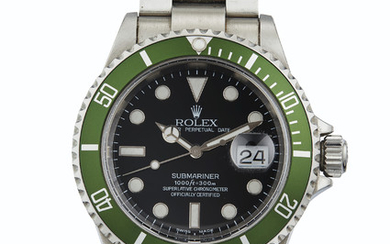 Rolex. A Fine Stainless Steel Automatic Wristwatch with Date, Center Seconds and Bracelet, SIGNED ROLEX, OYSTER PERPETUAL DATE, SUBMARINER, 1000FT=300M, REF. 16610V, CASE NO. F090324, CIRCA 2003