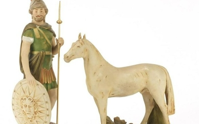 Royal Dux figure of a Roman gladiator and a horse