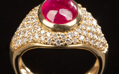 Ruby ring of 750 gold with brilliant cut diamonds