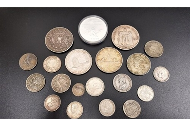 SELECTION OF WORLD SILVER COINS with silver contents ranging...