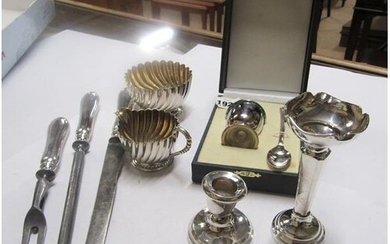 SILVER HANDLED 3 PIECE CARVING SET, PLATED SUGAR BOWL AND CR...