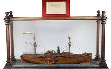 'STAR OF THE WEST' SHIP MODEL BY SHIP'S CARPENTER, NEW YORK, CIRCA 1860, FIRST SHOTS OF CIVIL WAR WERE FIRED AT THIS SHIP