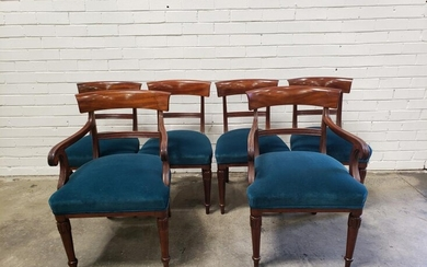 Set of Six Early Victorian Mahogany Dining Chairs, including two armchairs, with rail backs, deep blue velvet seats & raised on turn...