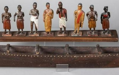 Set of carved and painted wood figures, etc.
