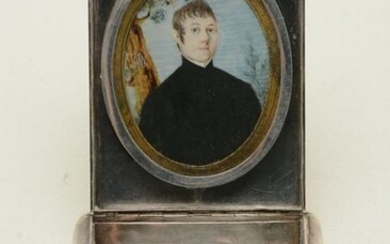 Silver box with miniature portrait. Top of unmarked