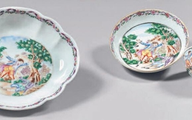 Small tray, cup and saucer in china.