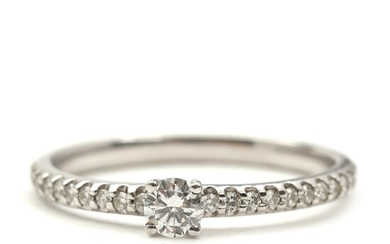 SOLD. Smykkekæden: Diamond ring set with numerous brilliant-cut diamonds totalling app. 0.29 ct., mounted in...