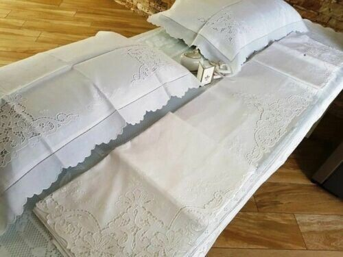 Spectacular Sheet in pure linen embroidery Carving and full point completely by hand - 265 x - Linen - 21st century