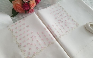 Spectacular double sheet in pure 100% linen with full stitch embroidery by hand - Linen - AFTER 2000