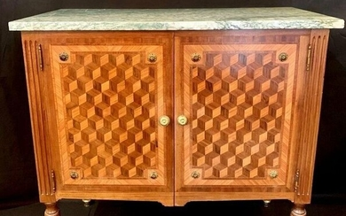 State chest of drawers with two leaves - Louis XVI style - Wood, Inlay of cubes - Circa 1900