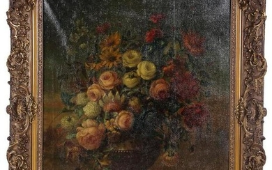 Still life with bouquet in vase, canvas 101x81 cm in a