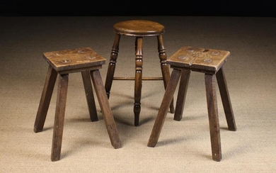 Three 19th Century Country Stools: One having a round turned elm seat and raised on knopped baluster