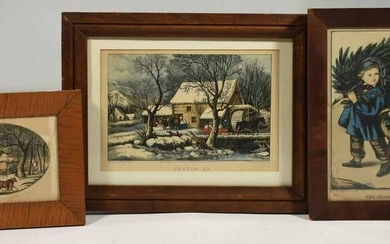 Three lithographs, Winter Scenes, Currier & Ives and