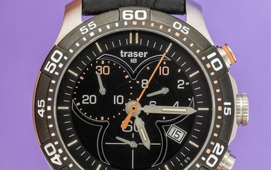 Traser - T73 Lady Time Chronograph Black with Leather Strap Swiss Made- 100333 - Women - BRAND NEW