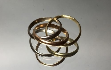 Trilogy ring, three golds, hallmark A and titled...