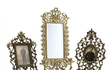 Two Brass Frames and Virginia Metalcrafters Mirror