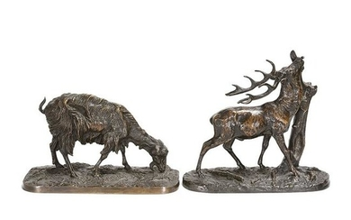 Two Bronze Sculptures After P.J. Mene, Stag and Goat.