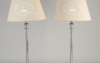 Two chrome metal table lamps. Second half of the