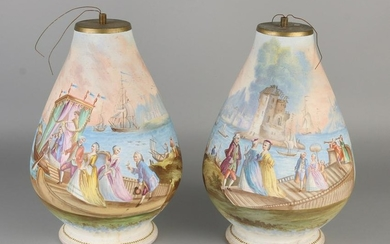 Two hand painted antique French bisquit porcelain lamp