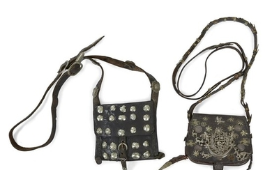 Two leather bags with silver studs and milagros South...