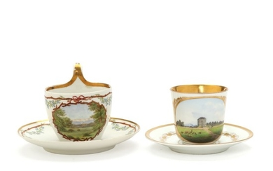 Two porcelain cups and saucers, one decorated with the Eremitage Castle. B&G and Royal Copenhagen. 19th century. (4 parts)