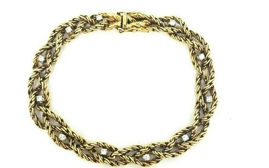 Vintage CARTIER Diamond Yellow Gold Braided Bracelet