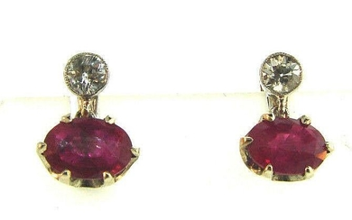 Vintage Ruby and Diamond Platinum Drop Earrings on a