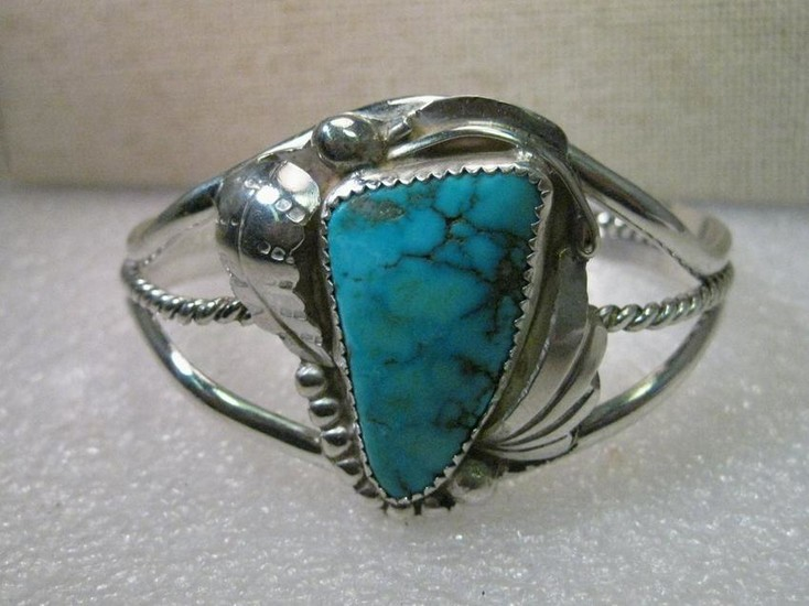 Vintage Sterling Silver Navajo Turquoise Old Pawn Cuff
