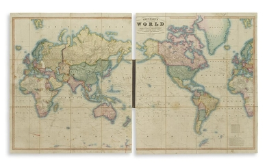 (WORLD.) Cruchley, George Frederick. Cruchley's New Map of the World on Mercator's Projection