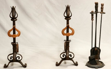 WROUGHT IRON ANDIRONS & FIRE TOOLS, 20TH C.