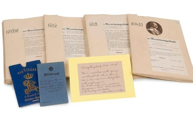 War diary of the soldier Franz Weinmeister at the infantry regiment of Wittich over the years 1914-1918. collected by the regiment between 1923 and 1930. in 4 cardboard files with numerous documents, postcards, photographs and daily notes on the course...