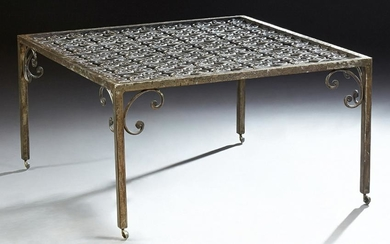 Wrought Iron Coffee Table, 20th c., the pierced top