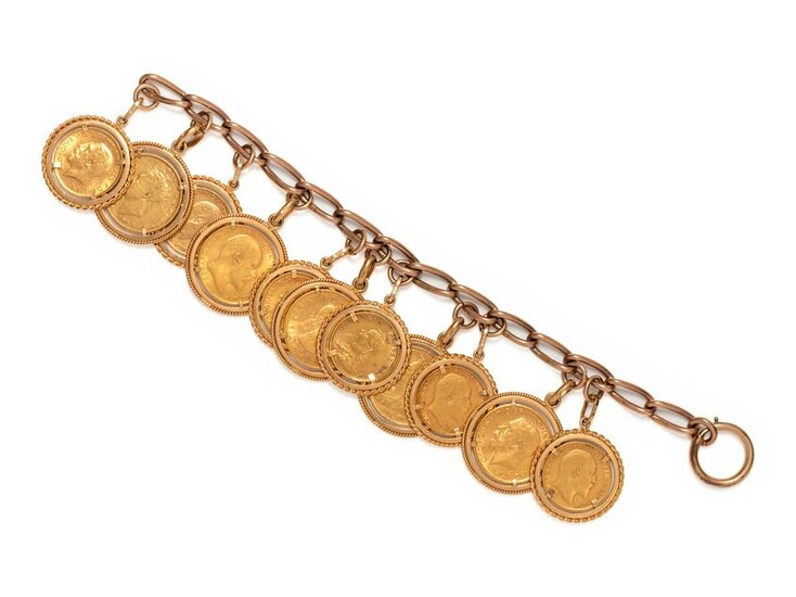 YELLOW GOLD AND BRITISH GOLD COIN BRACELET