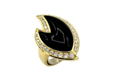 Yellow Gold Carved Black Onyx and Diamond Ring