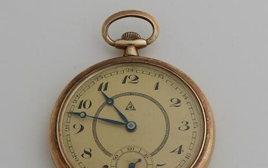 Yellow gold Swiss pocket watch, 585/000, with