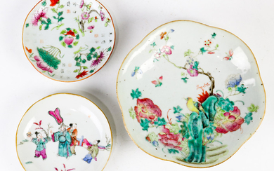 (lot of 3) Chinese Export Famille-rose Porcelain Dishes