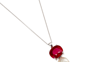 A ruby and baroque pearl pendent necklace