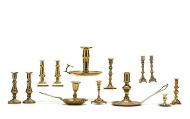 (13) Brass Miniature and Chamber Candlesticks